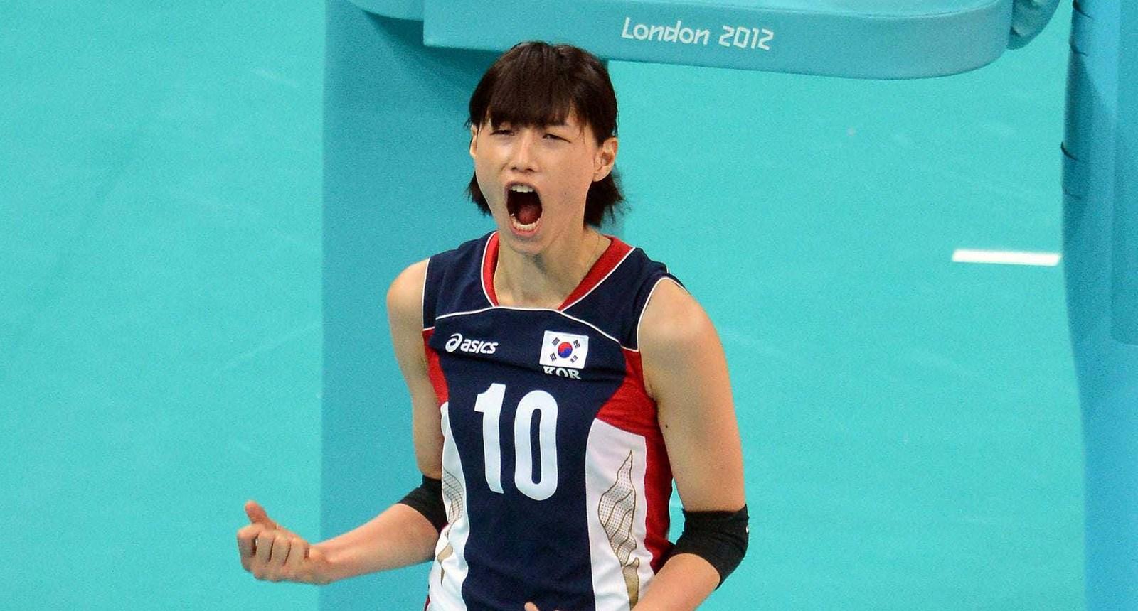 Korea's Yeon-Koung Kim celebrate one point