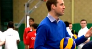 The Duke of Cambridge plays volleyball Prince William