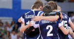Finland team cheers up during match against China