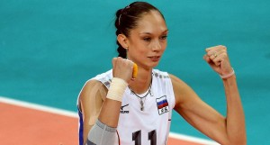 Russia's Ekaterina Gamova celebrates