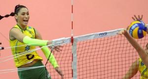 Brazil's Jaqueline Pereira de Carvalho spikes