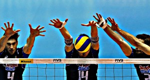 Vettori, Piano and Kovar of Italy jump to block the ball spiked