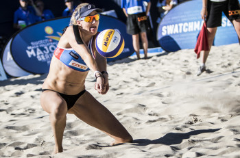 Kerri Walsh Jennings, April Ross of the USA and Agatha Bednarczuk, Barbara Seixas of Brazil compete during the Swatch Beach Volleyball Major Series in Gstaad, Switzerland on July 10, 2015