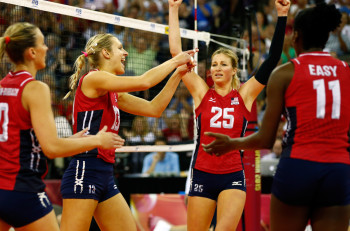 during day 5 of the FIVB Volleyball World Grand Prix on July 26, 2015 in Omaha, Nebraska.