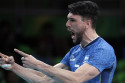 Argentina's Facundo Conte celebrates during a men's preliminary volleyball match against Iran at the 2016 Summer Olympics in Rio de Janeiro, Brazil, Monday, Aug. 8, 2016. (AP Photo/Jeff Roberson)